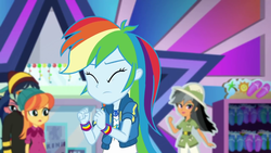 Size: 1280x720 | Tagged: safe, screencap, chestnut magnifico, daring do, desert sage, mile hill, orange sunrise, rainbow dash, waldo whereabout, equestria girls, equestria girls series, holidays unwrapped, spoiler:eqg series (season 2), dashing through the mall, eyes closed, female, geode of super speed, magical geodes, male, offscreen character