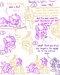 Size: 2048x2577 | Tagged: safe, artist:adorkabletwilightandfriends, moondancer, starlight glimmer, twilight sparkle, alicorn, pony, unicorn, comic:adorkable twilight and friends, adorkable, adorkable twilight, bed, comic, computer, cute, dork, emotional, envelope, hug, humor, laptop computer, lying down, magic, maturity, money, responsibility, slice of life, twilight sparkle (alicorn)