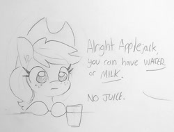 Size: 1070x814 | Tagged: safe, artist:tjpones, applejack, earth pony, pony, apple, applejack's hat, cowboy hat, dialogue, female, glass, hat, mare, offscreen character, part of a set, simple background, that pony sure does love apples, traditional art, white background