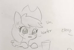 Size: 1070x720 | Tagged: safe, artist:tjpones, applejack, earth pony, pony, apple, applejack's hat, cowboy hat, dialogue, female, freckles, glass, hat, mare, offscreen character, part of a set, simple background, that pony sure does love apples, traditional art, white background