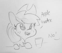 Size: 1023x870 | Tagged: safe, artist:tjpones, applejack, earth pony, pony, apple, applejack's hat, cowboy hat, cute, dialogue, female, freckles, glass, hat, jackabetes, mare, offscreen character, part of a set, simple background, that pony sure does love apples, traditional art, white background