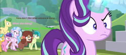 Size: 958x422 | Tagged: safe, edit, edited screencap, screencap, berry blend, berry bliss, citrine spark, fire quacker, huckleberry, sandbar, silverstream, starlight glimmer, yona, hippogriff, pegasus, pony, yak, a matter of principals, asking, field, friendship student, glowing horn, outdoors, raised eyebrow, walking