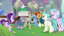 Size: 1920x1080 | Tagged: safe, screencap, maud pie, mudbriar, silverstream, starlight glimmer, sunburst, terramar, trixie, classical hippogriff, earth pony, hippogriff, unicorn, student counsel, balloon, cake, equinox cake, food
