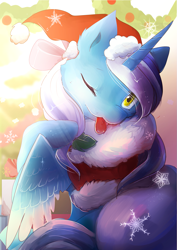 Size: 1655x2340   Tagged: safe, artist:nutty-stardragon, oc, oc:fleurbelle, alicorn, adorable face, alicorn oc, bow, christmas, christmas decoration, christmas lights, christmas presents, clothes, costume, cute, female, hair bow, hat, holiday, holly, mare, one eye closed, santa costume, santa hat, snow, snowflake, tongue out, wink, yellow eyes