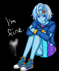 Size: 1007x1205 | Tagged: safe, artist:starwantrix, trixie, fanfic:lunchtime therapy, equestria girls, alternate hairstyle, blatant lies, clothes, crying, cute, depressed, diatrixes, holes in clothes, hoodie, legs, miniskirt, purple underwear, sad, sadorable, shoes, short hair, skirt, thighs