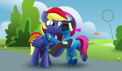 Size: 800x468 | Tagged: safe, artist:jhayarr23, oc, oc only, oc:neon flare, oc:rainbow lightspeed, pegasus, pony, clipboard, clothes, female, kissing, male, mare, movie accurate, stallion, uniform, wonderbolts dress uniform, wonderbolts uniform