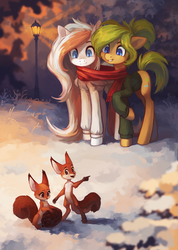 Size: 2202x3088 | Tagged: safe, artist:koviry, oc, oc:oasis, oc:waffles, earth pony, pegasus, pony, squirrel, anthro, digitigrade anthro, anthro with ponies, clothes, furry, long mane, night, scarf, scenery, shared clothing, shared scarf, snow, streetlight, sweater, winter