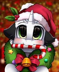 Size: 1446x1764 | Tagged: safe, artist:pridark, oc, oc:ghost note, pony, unicorn, bell, blushing, candy, candy cane, christmas, commission, cute, food, hat, holiday, mouth hold, ocbetes, pridark's christmas ponies, santa hat, solo, wreath, ych result