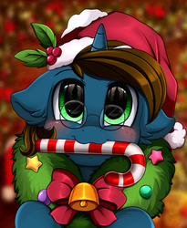 Size: 1446x1764 | Tagged: safe, artist:pridark, oc, oc only, pony, unicorn, bell, blushing, candy, candy cane, christmas, commission, cute, food, glasses, hat, holiday, mouth hold, ocbetes, pridark's christmas ponies, santa hat, solo, wreath, ych result