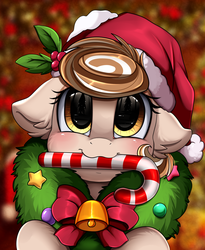 Size: 1446x1764 | Tagged: safe, artist:pridark, oc, oc:cinnamon spangled, earth pony, pony, bell, blushing, candy, candy cane, christmas, commission, cute, food, hat, holiday, mouth hold, ocbetes, pridark's christmas ponies, santa hat, solo, wreath, ych result