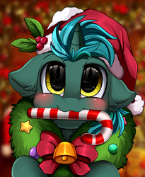 Size: 1446x1764 | Tagged: safe, artist:pridark, oc, oc:phantom mane, pony, unicorn, bell, blushing, candy, candy cane, christmas, commission, cute, food, hat, holiday, mouth hold, ocbetes, pridark's christmas ponies, santa hat, solo, wreath, ych result