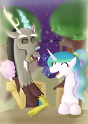 Size: 3704x5208 | Tagged: safe, artist:mr100dragon100, discord, princess celestia, princess luna, dislestia, female, male, shipping, straight