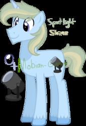 Size: 740x1080 | Tagged: safe, artist:mobian-gamer, oc, oc only, oc:spotlight shine, offspring, parent:prince blueblood, parent:trixie, parents:bluetrix