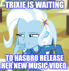 Size: 500x520 | Tagged: safe, trixie, equestria girls, equestria girls series, forgotten friendship, caption, clothes, image macro, meme, text, trixie yells at everything