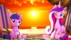 Size: 3840x2160 | Tagged: safe, artist:apexpredator923, princess cadance, twilight sparkle, alicorn, pony, 3d, beach, sitting, source filmmaker, sunset, tongue out, twilight sparkle (alicorn)