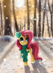 Size: 1368x1892 | Tagged: safe, artist:qbellas, fluttershy, pegasus, pony, bottomless, clothes, cute, earmuffs, female, folded wings, looking up, mare, outdoors, partial nudity, shyabetes, smiling, snow, snowfall, solo, standing, sweater, sweatershy, tree, wings, winter, winter outfit