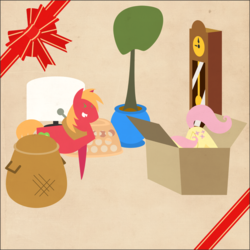 Size: 2000x2000 | Tagged: safe, anonymous artist, big macintosh, fluttershy, pony, series:12 days of hearth's warming, series:fm holidays, 12 days of christmas, ><, basket, border, butt, butt in the air, cardboard box, christmas, eyes closed, female, flutterbutt, fluttermac, grandfather clock, hearth's warming, hiding, holiday, laughing, laundry basket, male, plot, pointy ponies, potted plant, ribbon, shipping, snickering, straight, table, table cloth, texture, tree