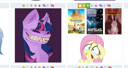 Size: 534x286 | Tagged: safe, artist:tantore, fluttershy, twilight sparkle, human, pegasus, pony, rabbit, unicorn, derpibooru, animal, bunnicula, creepy, creepy smile, crying, fangs, juxtaposition, meta, night of the lepus, simple background, smiling, solo, tooth, unicorn twilight, watership down