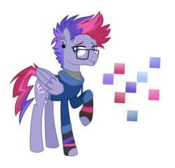 Size: 3595x3431 | Tagged: safe, artist:zapwboltbases, oc, oc only, oc:ultraviolet ray, pegasus, pony, icey-verse, clothes, ear piercing, earring, female, fingerless gloves, glasses, gloves, hoodie, jewelry, lip piercing, magical lesbian spawn, male, mare, multicolored hair, offspring, parent:oc:elizabat stormfeather, parent:tempest shadow, parents:canon x oc, parents:stormshadow, piercing, raised hoof, shirt, simple background, solo, stallion, transparent background, wristband