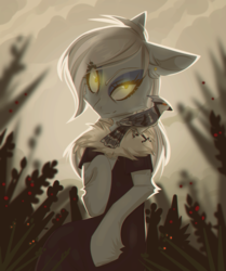 Size: 1826x2189 | Tagged: safe, artist:blue_raven, oc, oc only, oc:fine ivory, bird, earth pony, pony, black dress, clothes, dress, ear piercing, earring, eyeshadow, forest, fur collar, glowing eyes, jewelry, looking at you, makeup, piercing, plant, solo