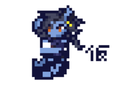 Size: 480x320   Tagged: safe, artist:k_clematis, oc, oc only, pony, armor, ear piercing, earring, jewelry, piercing, pixel art, simple background, solo, swinging, transparent background