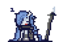 Size: 480x320   Tagged: safe, artist:k_clematis, oc, oc only, oc:evernight, pony, armor, hair over one eye, onomatopoeia, pixel art, simple background, sleeping, snoring, sound effects, spear, tired, transparent background, weapon, z