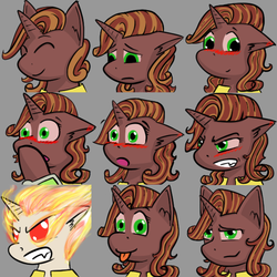 Size: 600x600 | Tagged: safe, artist:skydreams, oc, oc only, oc:molasses candy, pony, unicorn, fallout equestria, :p, angry, blushing, commission, ear blush, embarrassed, emoji, emotes, fallout equestria: scoundrels, female, mare, on fire, sad, smiling, smirk, surprised, tongue out