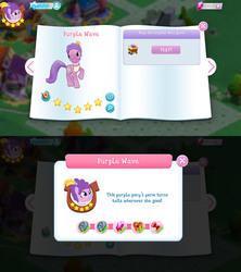 Size: 1280x1440 | Tagged: safe, purple wave, earth pony, pony, bio, feather, female, game screencap, gameloft, gem, mare, stars, tree