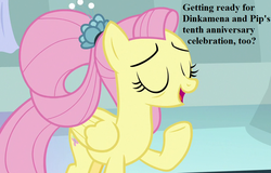 Size: 999x639 | Tagged: bronybait, cropped, cute, edit, edited screencap, fluttershy, implied dinky, implied dinkysqueak, implied pipsqueak, implied shipping, implied straight, older, older fluttershy, safe, screencap, shyabetes, solo, speech, spoiler:s09e26, the last problem