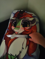 Size: 1440x1912 | Tagged: artist:rileyisherehide, autumn blaze, bed, body pillow, human, implied abuse, irl, irl human, kirin, knife, :p, photo, safe, threat, tongue out