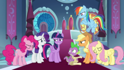 Size: 1920x1080 | Tagged: alicorn, applejack, between dark and dawn, dragon, fluttershy, mane six, pinkie pie, rainbow dash, rarity, safe, screencap, scroll, spike, spoiler:s09e13, twilight sparkle, twilight sparkle (alicorn), winged spike