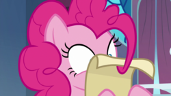 Size: 1920x1080 | Tagged: between dark and dawn, mane hold, pinkie pie, safe, screencap, scroll, solo, spoiler:s09e13