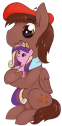 Size: 604x1232 | Tagged: 2020 community collab, artist:t72b, beret, clothes, derpibooru community collaboration, derpibooru exclusive, hat, hoof hold, male, oc, oc:autumn harvest, pegasus, plushie, pony, princess cadance, safe, scarf, simple background, sitting, solo, stallion, transparent background