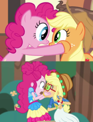 Size: 903x1186 | Tagged: accountibilibuddies, accountibilibuddies: pinkie pie, applejack, cheeks, earth pony, equestria girls, equestria girls series, funny, human, mmmystery on the friendship express, pinkie pie, pony, safe, spoiler:choose your own ending (season 2), spoiler:eqg series (season 2)
