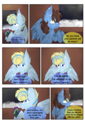 Size: 1299x1888 | Tagged: alicorn, alicorn oc, artist:hunterthewastelander, book, comic, comic:the transgression, crystal pony, dialogue, eye clipping through hair, female, male, mare, oc, oc only, oc:snowstorm brina cavaliere, oc:whiskey star, offspring, parent:princess cadance, parent:shining armor, parents:shiningcadance, pegasus, pony, safe, smiling, snow, stallion