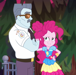 Size: 1060x1049 | Tagged: clothes, cropped, equestria girls, equestria girls series, female, geode of sugar bombs, grin, magical geodes, male, max steele, necktie, outdoors, pinkie pie, safe, screencap, security guard, smiling, spoiler:eqg series (season 2), sunglasses, sunset's backstage pass!