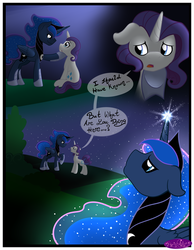 Size: 3500x4500 | Tagged: alicorn, artist:becauseimpink, comic, comic:transition, elusive, ethereal mane, hoof shoes, jewelry, looking up, male, night, pony, prince artemis, princess luna, raised hoof, rarity, rule 63, safe, speech, stallion, starry mane, stars, tiara, transgender, unicorn
