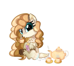 Size: 674x604 | Tagged: artist:peachesandcreamated, cup, deer, deer pony, oc, oc:honey dip, oc only, original species, safe, simple background, sitting, solo, teacup, teapot, transparent background, unshorn fetlocks