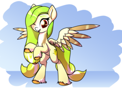 Size: 3148x2292 | Tagged: safe, artist:wenni, oc, oc only, oc:lemony light, pegasus, pony, female, looking at you, mare, open mouth, rearing, simple background, smiling, solo, unshorn fetlocks, wings