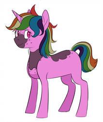 Size: 825x969 | Tagged: safe, artist:osbkannora, oc, oc:radioactive bismuth, pony, unicorn, magical lesbian spawn, offspring, parent:princess luna, parent:rainbow dash, parents:lunadash, simple background, solo, white background