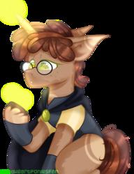 Size: 2000x2600 | Tagged: safe, artist:redheartponiesfan, artist:shootingstaryt, oc, oc:yuki, pony, unicorn, clothes, glasses, magic, male, simple background, solo, stallion, transparent background