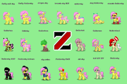 Size: 1340x892 | Tagged: amnesiashy, animal costume, bat ponified, bat pony, bee costume, breezie, clothes, costume, dragon, dragonshy, elements of insanity, fanfic:bride of discord, fluffy, flutterbat, flutterbee, fluttercow, fluttershed, fluttershout, fluttershy, fluttertree, green background, .mov, older, older fluttershy, original species, police, pony, pony.mov, pony town, race swap, safe, shed.mov, simple background, slug, species swap, spider, spiderpony, spidershy, swat, tree, wolf