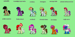 Size: 1136x560 | Tagged: applepills, brutalight sparcake, clothes, cosplay, costume, creepy belle, derpigun, elements of insanity, fluttershout, francie bloom, green background, karateloo, magic mare, painset shimmercakes, pony, pony town, rainbine, rarifruit, safe, simple background
