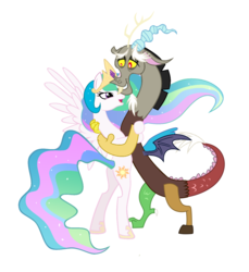 Size: 1384x1508 | Tagged: safe, derpibooru exclusive, edit, editor:proto29, discord, princess celestia, alicorn, draconequus, pony, dislestia, female, male, shipping, simple background, straight, white background