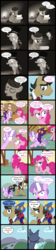 Size: 2000x8953 | Tagged: artist:magerblutooth, cat, clothes, cloud, comic, comic:diamond and dazzle, diamond tiara, earth pony, filthy rich, flashback, imp, monochrome, oc, oc:aunt spoiled, oc:dazzle, oc:handy dandy, oc:il, oil lamp, pegasus, pinkie pie, pony, rainbow dash, safe, sleeping, sugarcube corner, typewriter