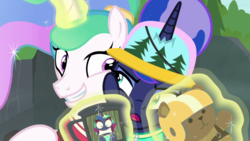 Size: 1920x1080 | Tagged: safe, screencap, princess celestia, princess luna, alicorn, pony, between dark and dawn, alternate hairstyle, annoyed, cheek squish, cup, cute, cutelestia, excited, eyeshadow, faic, female, frown, glowing horn, grin, hair bun, hat, helmet, horn, horn impalement, levitation, looking at each other, luna is not amused, magic, makeup, multicolored mane, narrowed eyes, no, photo, ponytail, royal sisters, siblings, side hug, sillestia, silly, sisters, smiling, squishy cheeks, talking, teddy bear, telekinesis, toy, unamused, vacation