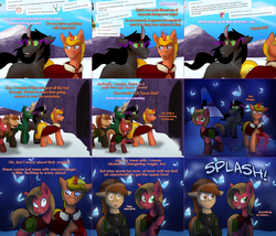 Size: 2104x1804 | Tagged: amputee, artist:wiggles, ask, ask king sombra, ask pun, brown changeling, changeling, derp, disguise, disguised changeling, female, king sombra, magic, mare, oc, oc:coffee talk, oc:dominus, oc:pun, oc:supremus longhorn, pony, racism, rock, saddle bag, safe, snow, tumblr