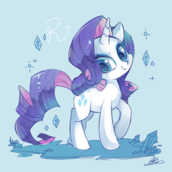 Size: 850x850 | Tagged: safe, artist:sibashen, rarity, pony, unicorn, blue background, cute, diamond, female, looking at you, mare, raised hoof, raribetes, simple background, solo