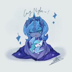 Size: 850x850 | Tagged: safe, artist:sibashen, princess celestia, princess luna, alicorn, pony, :>, :o, c:, crown, cute, eyeshadow, female, filly, good night, jewelry, lunabetes, makeup, mare, misspelling, one eye closed, open mouth, plushie, regalia, simple background, smiling, solo, sparkles, teary eyes, white background, wink