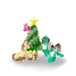 Size: 894x894 | Tagged: safe, artist:hersheypup, pinkie pie, oc, oc:ferb fletcher, oc:frost d. tart, alicorn, earth pony, pegasus, pony, alicorn oc, christmas, christmas tree, clothes, costume, holiday, plushie, present, santa costume, solo, tree, winter ramun